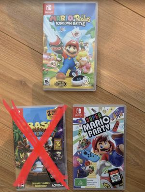 Super Mario party Mario + rabbids kingdom battle Nintendo switch games for Sale in Murrieta, CA