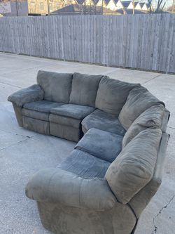 3 Piece L-Shaped Contemporary Gray Microfiber Suede Dual Reclining Corner Sectional from Ashley Furniture (FREE DELIVERY) for Sale in Fort Worth,  TX