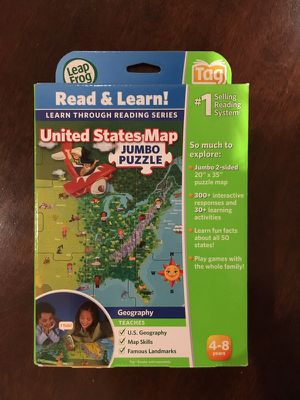 Leap Frog Read and Learn United States Map Jumbo Puzzle for Sale in Hollywood, FL