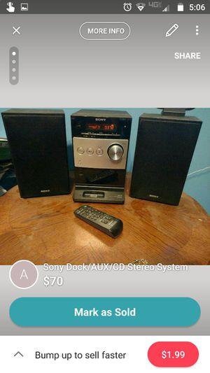 Sony Dock/AUX/CD Stereo System for Sale in Verona, VA