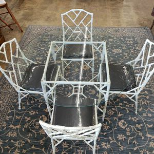 Vintage Glass-top White Wrought Iron Table W/ 4 Chairs for Sale in Bremerton, WA