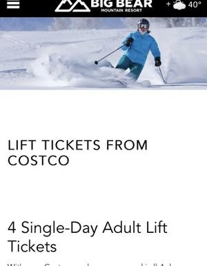 4 Snow summit one day lift pass for Sale in Poway, CA