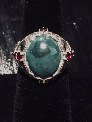 Beautiful Turquoise & Garnets in Sterling Silver Designer Ring - Size 8 for Sale in Pittsburgh, PA