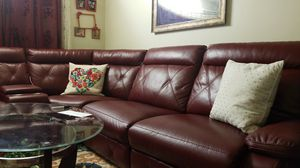 Leather sofa New brand and comfortable m buy only 6 months before for Sale in Buffalo, NY