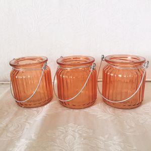 3 peachy pink glass tea light candle holders for Sale in Long Beach, CA