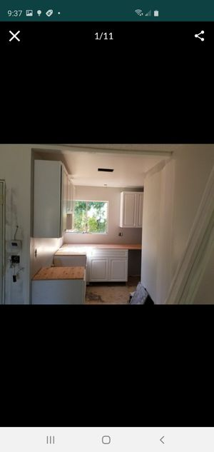 Paint,framing,kitchen cabinet,bath,laminate floor,ceiling led lights and much more for Sale in Rialto, CA