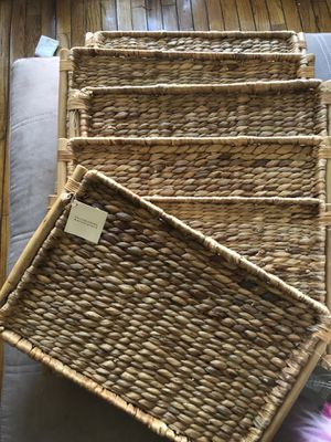 Set of 6 Williams Sonoma Rattan Trays for Sale in Laurel, MD