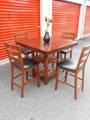 Genuine Wood & Black Leather, Bar Height Dining/Kitchen Table Set & Bar Chairs for Sale in Hampton, VA