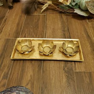 Gold Lotus Tea Candle Holder for Sale in Bakersfield, CA