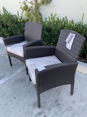 New in box SET OF 2 Mission Hills Santa Fe Dining Brown Chair Outdoor Wicker Patio Furniture With Tan Sunbrella material Cushion $400 at Costco seat for Sale in Los Angeles, CA