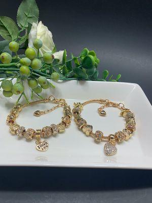 18K Gold Plated Austrian Crystal Rhinestone Star Love Heart Charm Bracelet, Each $11.99 for Sale in Los Angeles, CA