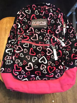 JANSPORT TRANS BACKPACK BLACK/PINK HEARTS VELOUR for Sale in Long Beach, CA