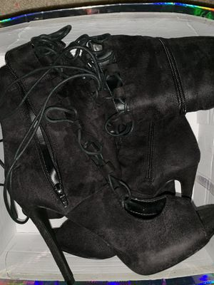Thigh high peep toe boots black suede size 9 for Sale in Lithia Springs, GA