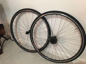 Road bike 700c wheels set 9 speeds cassette for Sale in Hollywood, FL