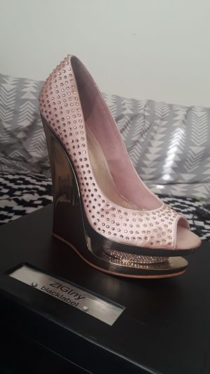 Used, Silver Pink peep-toe pump for Sale for sale  Mableton, GA