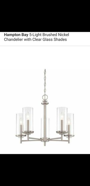 5 light brushed nickel chandelier with clear glass shades for Sale in Bakersfield, CA