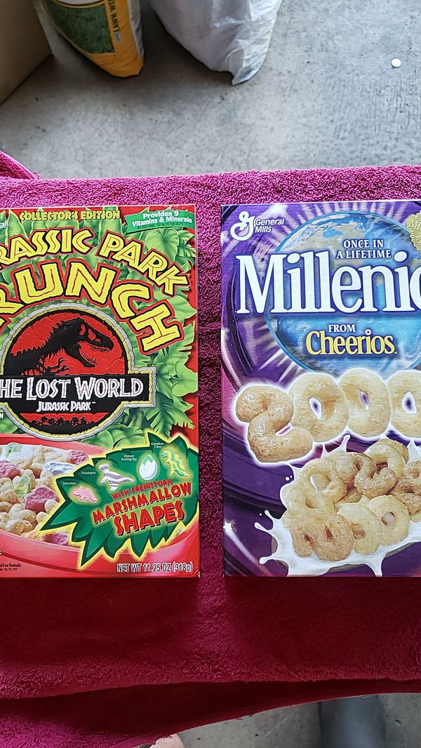 Classic Cheerios and Jurassic Park Crunch