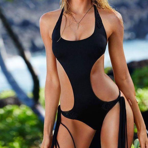 Victorias Secret SEXY STRAPPY Macrame FRINGE Monokini Swimsuit Swim, Black Size XSmall