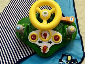 John Deere Busy driver, kids' toy steering wheel & driving dashboard w/lights & sounds for Sale in Clovis, CA