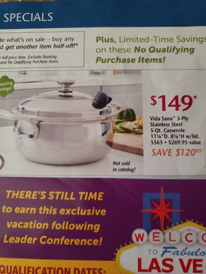 Princess House Vida Sana 5-Ply Stainless Steel 5 Qt. Casserole - NEW for Sale in Rialto, CA
