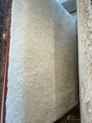 8x10 white soft plush long hair shaggy rug non slide non shedding carpet for Sale in Los Angeles, CA