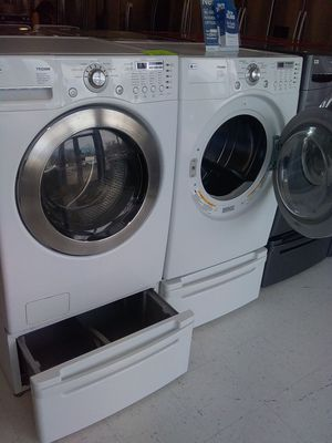 Lg pedestal washer and dryer used good condition 90days warranty for Sale in Mount Rainier, MD