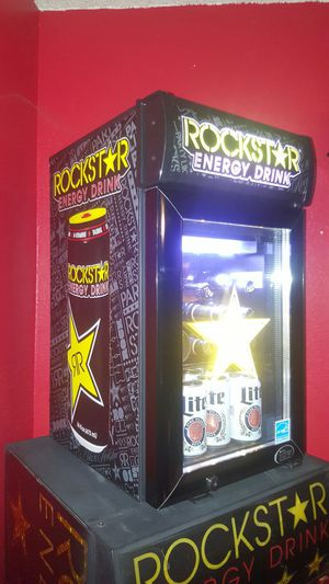 Rockstar mini fridge...2ft tall 13 x17....Gets Ice Cold!..Works great!! for Sale in Modesto, CA