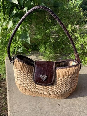 """""""Like New"""" Brighton Straw w/ Brown Leather Handbag for Sale in Normal, IL"""