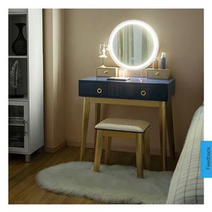 New Vanity Makeup Table Touch Screen 3 Lighting Modes Dressing Table Set Navy Blue for Sale in Hacienda Heights, CA