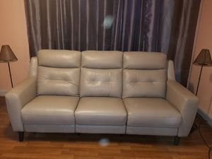 Leather Gray/Silver Power Recliner Sofa $975 for Sale in Philadelphia, PA