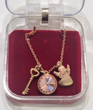 3 charm necklace, gold plated for Sale in Libertyville, IL