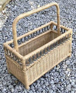 Vintage Mid Century Modern MCM Wicker Rattan Bamboo Basket Magazine Holder Storage Rack Organizer for Sale in Chapel Hill, NC