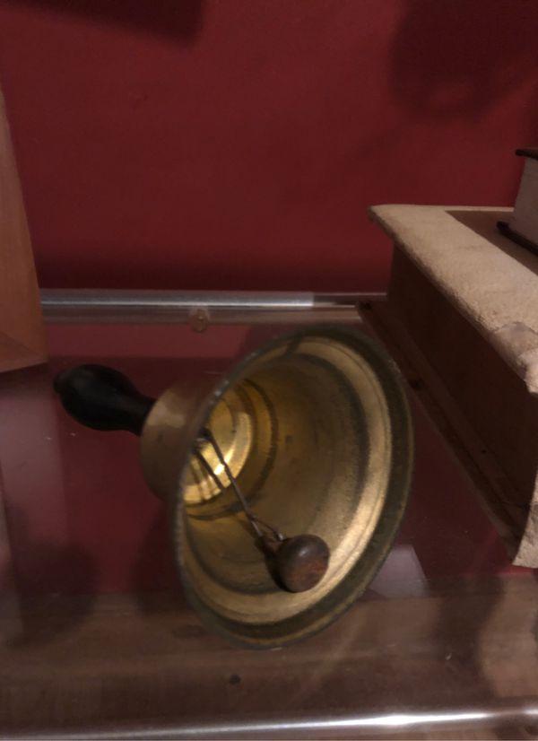 Antique Bell early brass school bell castiron ringer-C