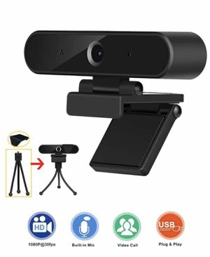 Webcam with Microphone, HD 1080P Webcam with Privacy Cover and Tripod, USB Computer Camera with Wide View Angle, PC Desktop Webcam for Video Calling for Sale in Margate, FL