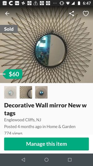 """Decorative wall mirror 33""""Round for Sale in New York, NY"""