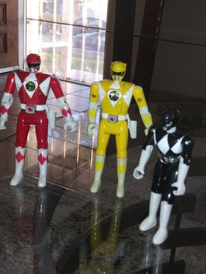 Antique toys..1993 Bandai Mighty Morphin Power Rangers yellow & red Flip Head black not for Sale in Lincoln Acres, CA