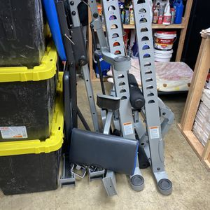Nautalis Bench Press/squat Rack Barbell And Weights for Sale in Seattle, WA