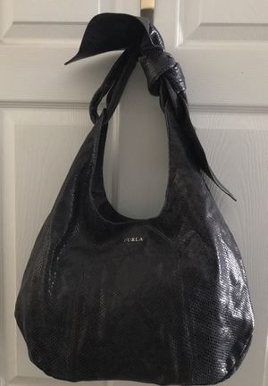FURLA ITALY XL CHARCOAL GREY SNAKE DESIGN LEATHER HOBO BAG WITH BOW for Sale in Winter Springs, FL