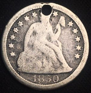 Yes it's Holed - But Better Date 1850 O (New Orleans) Seated Liberty Dime for Sale in St. Charles, IL