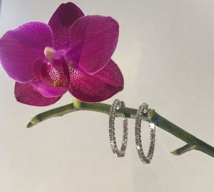 Diamond In and out hoop earrings for Sale in Norwood, MA