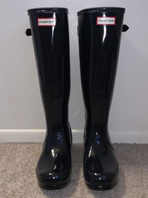 Tall Hunter Boots- Black Gloss size 8 for Sale in Madison Heights, MI