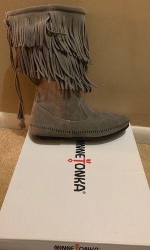 Grey Fringe Minnetonka Boots for Sale in Highland Hills, OH