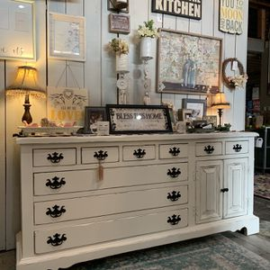 Refinished White Farmhouse Dresser Or Media Console for Sale in Bonney Lake, WA