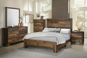 4PC QUEEN BEDROOM SET: QUEEN BED FRAME, DRESSER, MIRROR, NIGHTSTAND for Sale in Fresno, CA