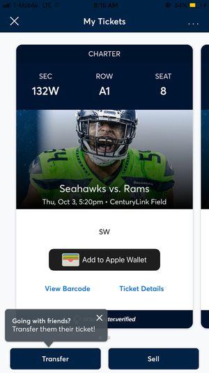 Seahawks Thursday Night Football vs Rams! Primetime game, Primetime Seats, Primetime time Price. 🔥 LETS MAKE A DEAL! 🤝 for Sale in Seattle, WA