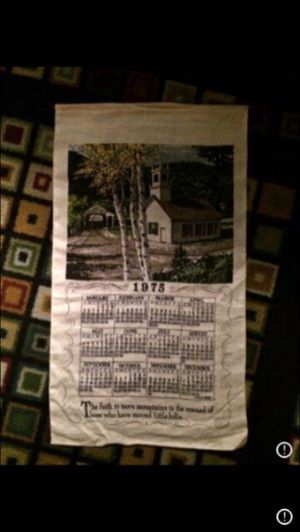 Vintage 1975 covered Bridge w Old Church Clothe Calendar for Sale in Milnesville, PA