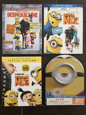 Despicable Me 1, Despicable Me2, Despicable Me 3, and Minions Blu-ray Movies for Sale in Buena Park, CA