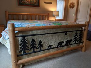 King Pine pole/Iron 4 post bed frame. Bear and Tree motif for Sale in Tulalip, WA