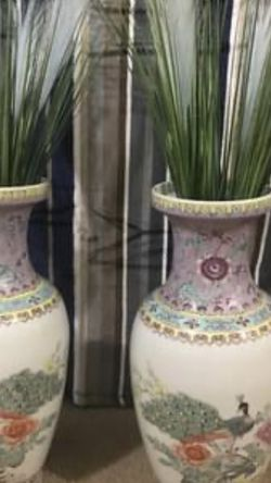 "Available 2 Pc Set Of Porcelain Peacock Chinese Vases 18"" Fro $150 Reatail Price Over $2,600 Free Fillers Pick Up Gaithersburg Md20877 Cash Only for Sale in Gaithersburg,  MD"