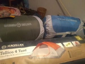 Tellico 4 man tent And 2 adults sleeping bag s need gone asp for Sale in Abbeville, AL